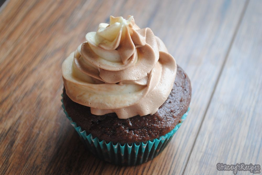 Chocolate Cupcakes with Vanilla and Nutella Swirl Frosting (Gluten Free)