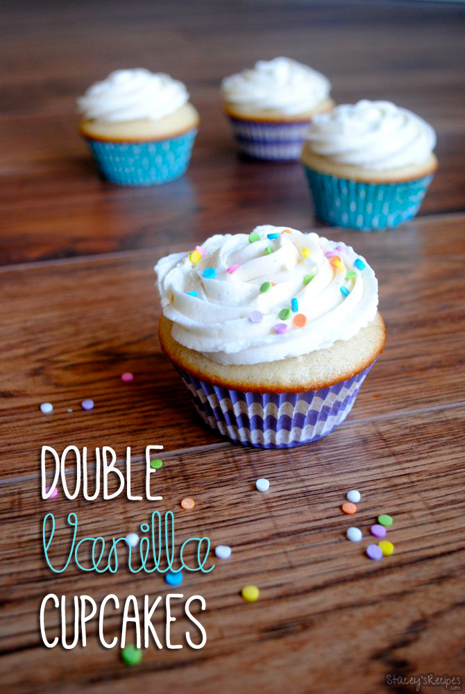 Double Vanilla Cupcakes - Stacey's Recipes