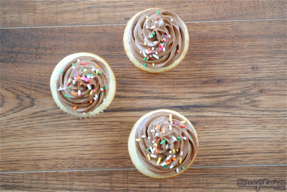 Vanilla Cupcakes with Milk Chocolate Frosting