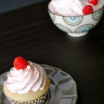 Almond Cupcakes with Fresh Raspberry Frosting