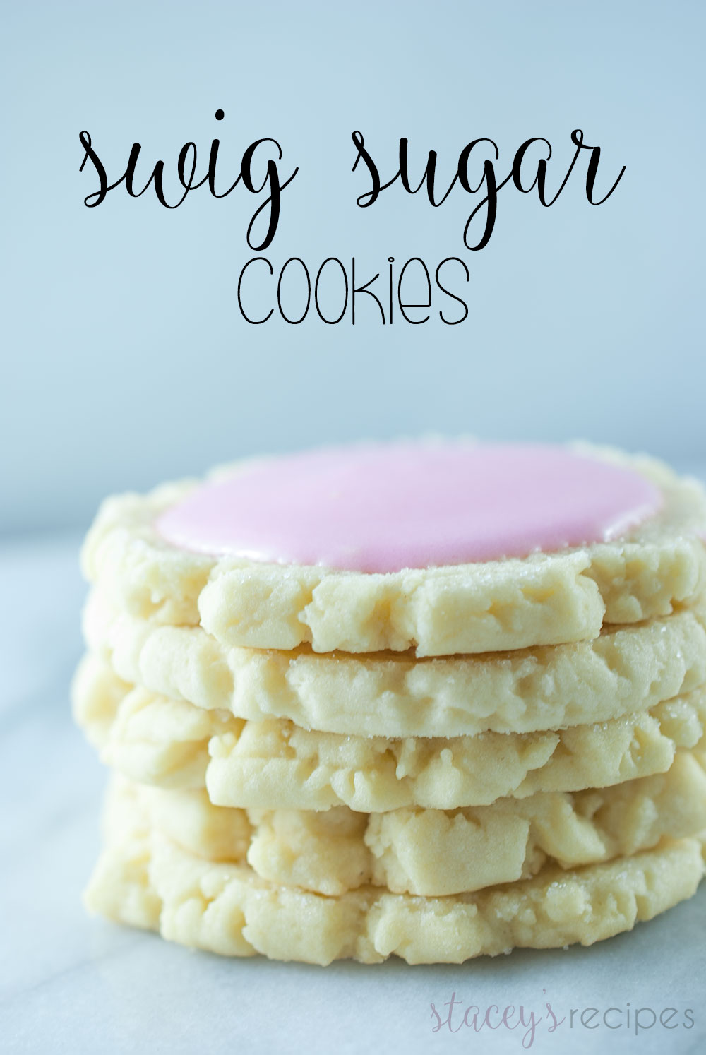 Swig Sugar Cookies - The perfect combination of a sugar cookie and shortbread, smothered with a sour cream frosting. | www.staceysrecipes.com