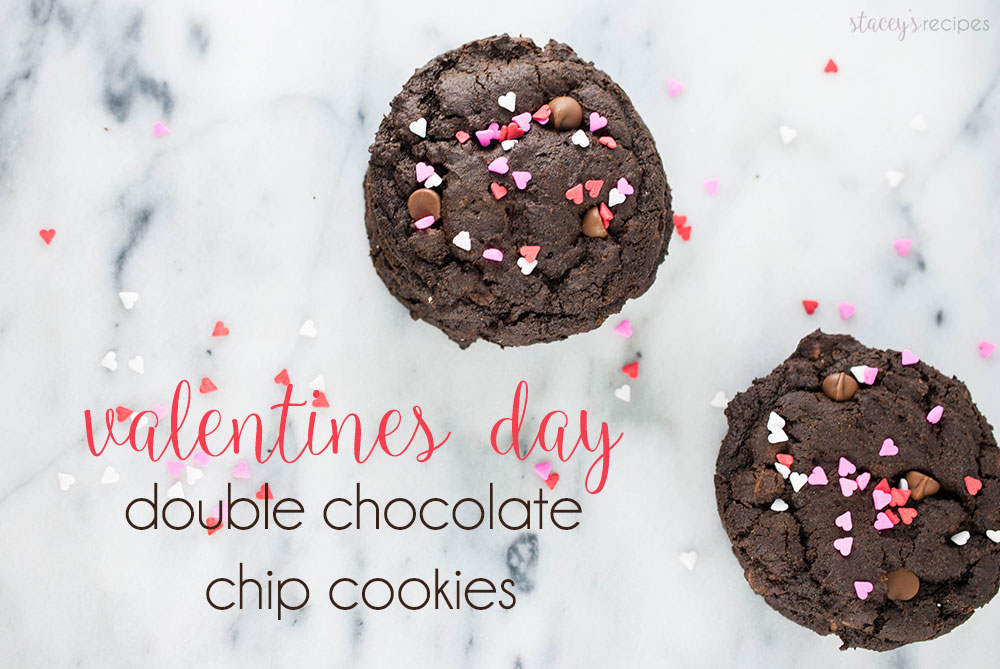 Double Chocolate Valentines Day Cookies - Thick, brownie-like cookies filled with chocolate chips topped with sprinkles - the perfect Valentines Day cookie! | www.staceysrecipes.com