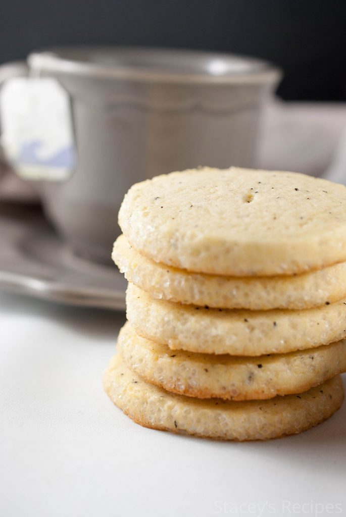 No-roll sugar cookies infused with Earl Grey tea with a crisp sugared edge. | www.staceysrecipes.com