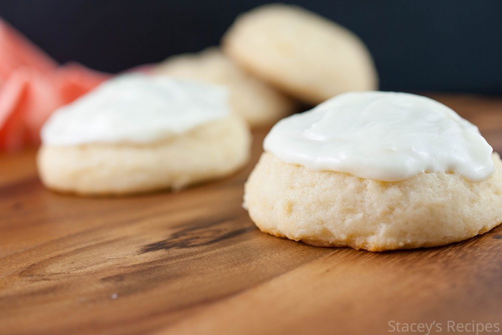 Light and airy ricotta cookies, topped with a sweet and tangy cream cheese frosting. | www.staceysrecipes.com