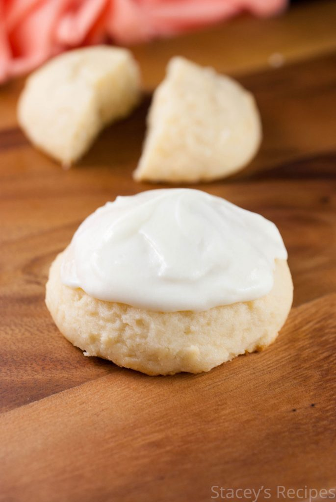 Light and airy ricotta cookies, topped with a sweet and tangy cream cheese frosting.   www.staceysrecipes.com